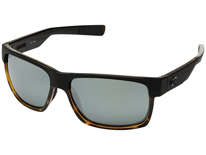 Costa  Half Moon (Matte Black/Shiny Tortoise Frame/Gray/Silver Mirror 580G) Athletic Performance Sport Sunglasses