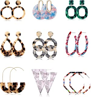 Jstyle 3-9Pairs Acrylic Hoop Earrings for Women Girls Mottled Drop Stud Earrings Statement Resin Earrings Set Fashion Women Jewelry
