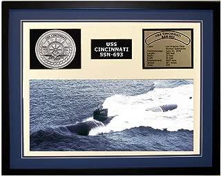 Navy Emporium USS Cincinnati SSN 693 Framed Navy Ship Display Blue