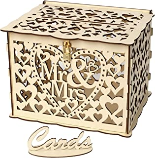 Janly Clearance Sale Wedding Card Box with Lock DIY Money Wooden Gift Boxes For Birthday Party , Home Decor for Easter Day...