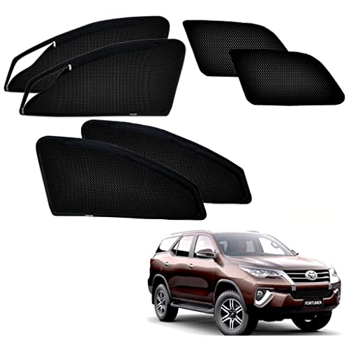 Autopearl Premium Quality Zipper Magnetic Sun Shades Car Curtain For - Toyota Fortuner 2017- Set Of 6 Pcs