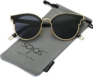 5e0366e1375a3 SOJOS Fashion Cateye Sunglasses for Women Oversized Flat Mirrored Lens  SJ1055