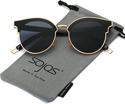f2730b322175 SOJOS Fashion Cateye Sunglasses for Women Oversized Flat Mirrored Lens  SJ1055