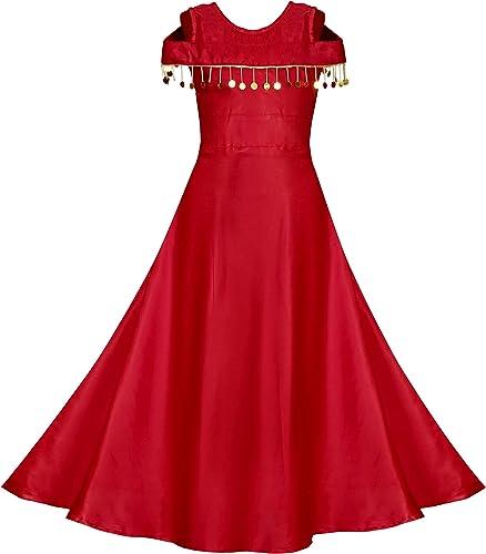 Girls Long Maxi Length Dress Readymade Red