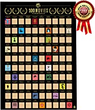 Me Time Joy 100 Movies Scratch Off Poster- Bucket List Poster- Quality Easy Off Gold Foil with Scratching Tool - 16.5 x 23.4 in