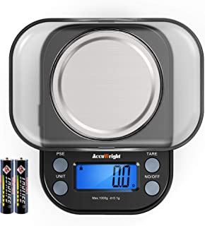 Accuweight 255B Small Digital Pocket Scale 1000 by 0.1gram scale for Food Jewelry Coins Herbs with Tare and Calibration