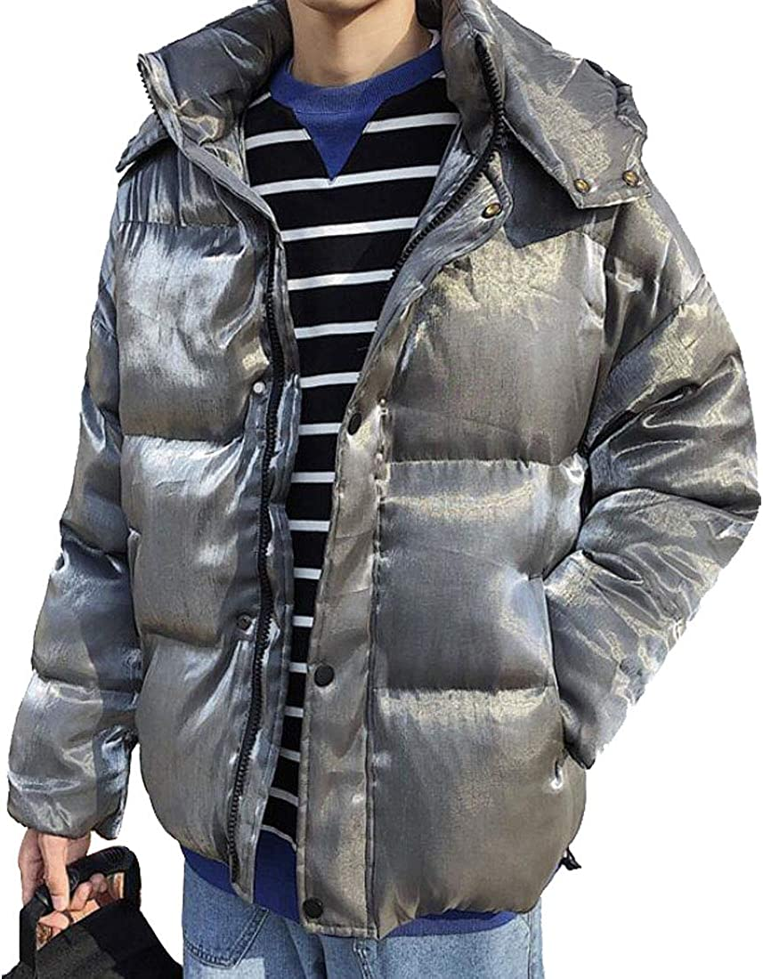 HZCX FASHION Men's Winter Thickest Padded Shiny Puffer Jackets with Hood