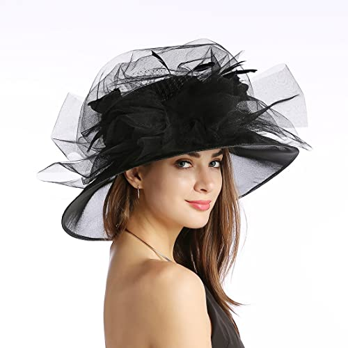 4180081c Women's Organza Church Kentucky Derby Fascinator Tea Party Wedding Hat