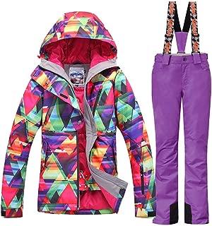 Women's Waterproof Ski Jackets Pants Set Windproof Girls Snowboard Jakets Colorful Printed Snowsuit