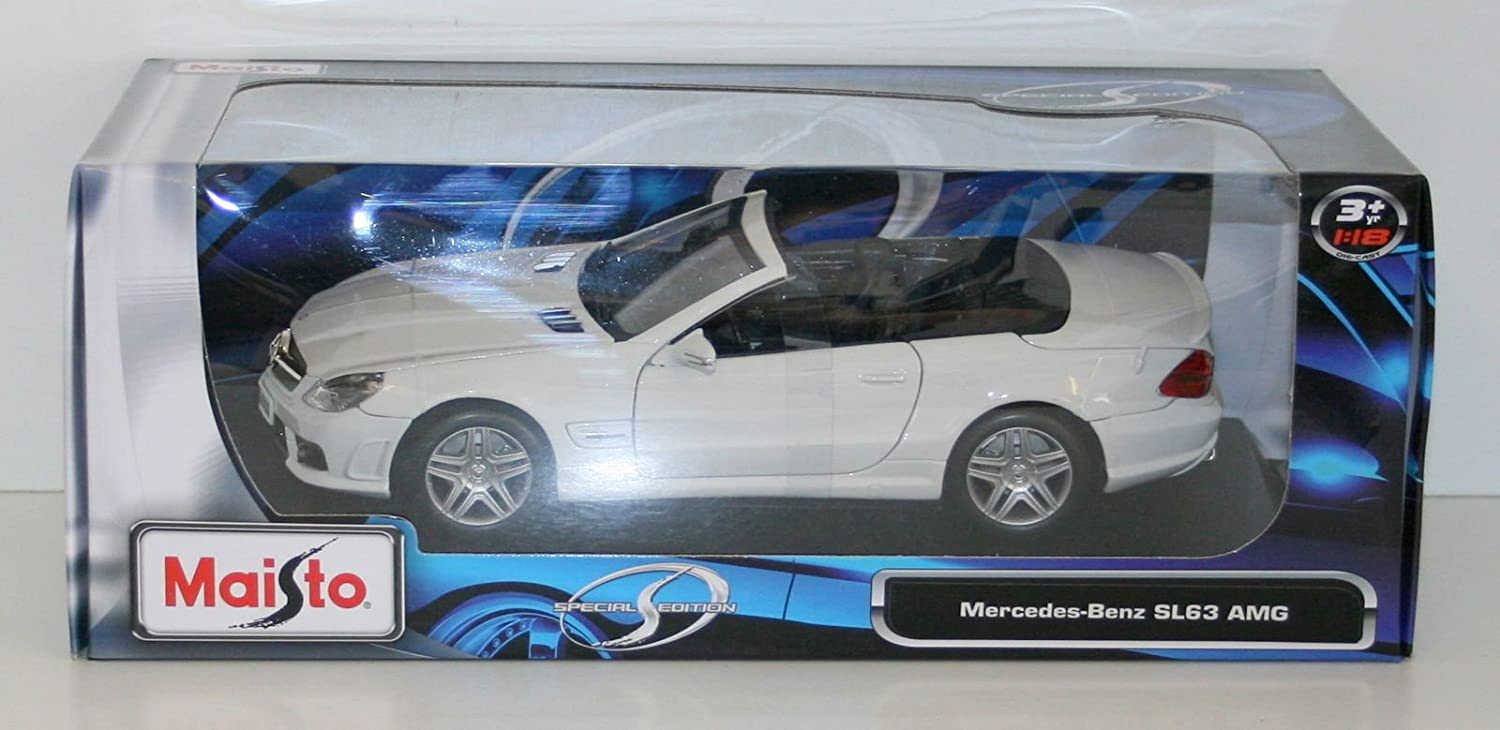Maisto Year 2015 Special Edition Series 1 18 Scale Die Cast Car Set  White color Congreenible Coupe MERCEDES BENZ SL63 AMG with Display Base (Car Dimension  91 2  x 4  x 3 )