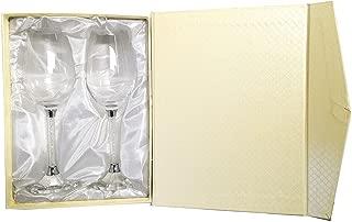Amlong Crystal Wine Glass with Crystal Diamond Stemware, set of 2