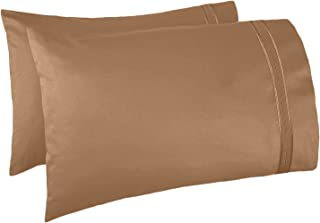 Nestl Bedding Set of 2 Premium Pillowcases – Luxury Super Soft 100% Double Brushed Microfiber, Hypoallergenic & Breathable Design, Soft & Comfortable Hotel Luxury – King - Mocha Light Brown