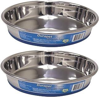 OURPQ Durapet Premium Rubber-Bonded Stainless Steel Dish