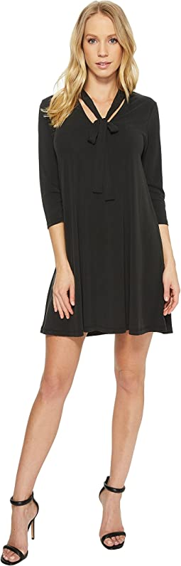 American Rose - Mia Tie-Front 3/4 Sleeve Keyhole Dress