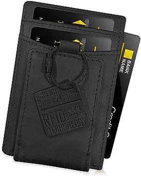 FIDELO Leder RFID Minimalist Wallet - EDC Slim Wallet Credit Card Holder Money Clip for Men - Schwarz - Einheitsgröße