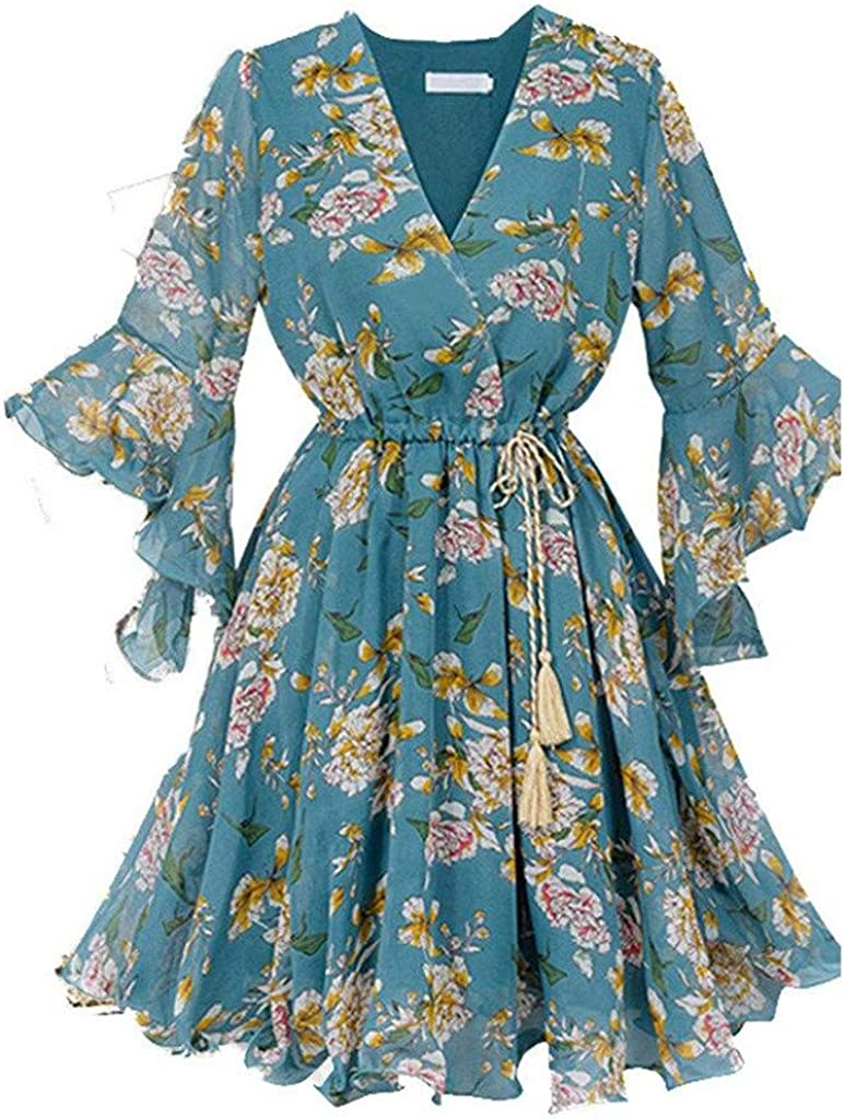 Dresses for Women Work Casual Chiffon Floral Print V Neck Mini Dress Flared Sleeve Elegant Party Dresses Plus Size