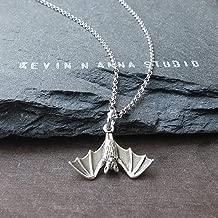 Sterling Silver Petite Hanging Bat Charm Pendant Necklace, 18