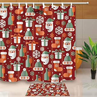 CdHBH Christmas Santa Claus and Wine Bottle Gift Pattern Bathroom Set Shower Curtain and Bath mat Waterproof Fabric Durable Easy to Clean for Bathroom Shower Room with Bath mat