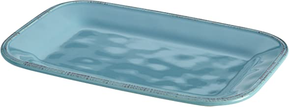 Rachael Ray 57231 Cucina Dinnerware 8-Inch x 12-Inch Stoneware Rectangular Platter, Agave Blue -