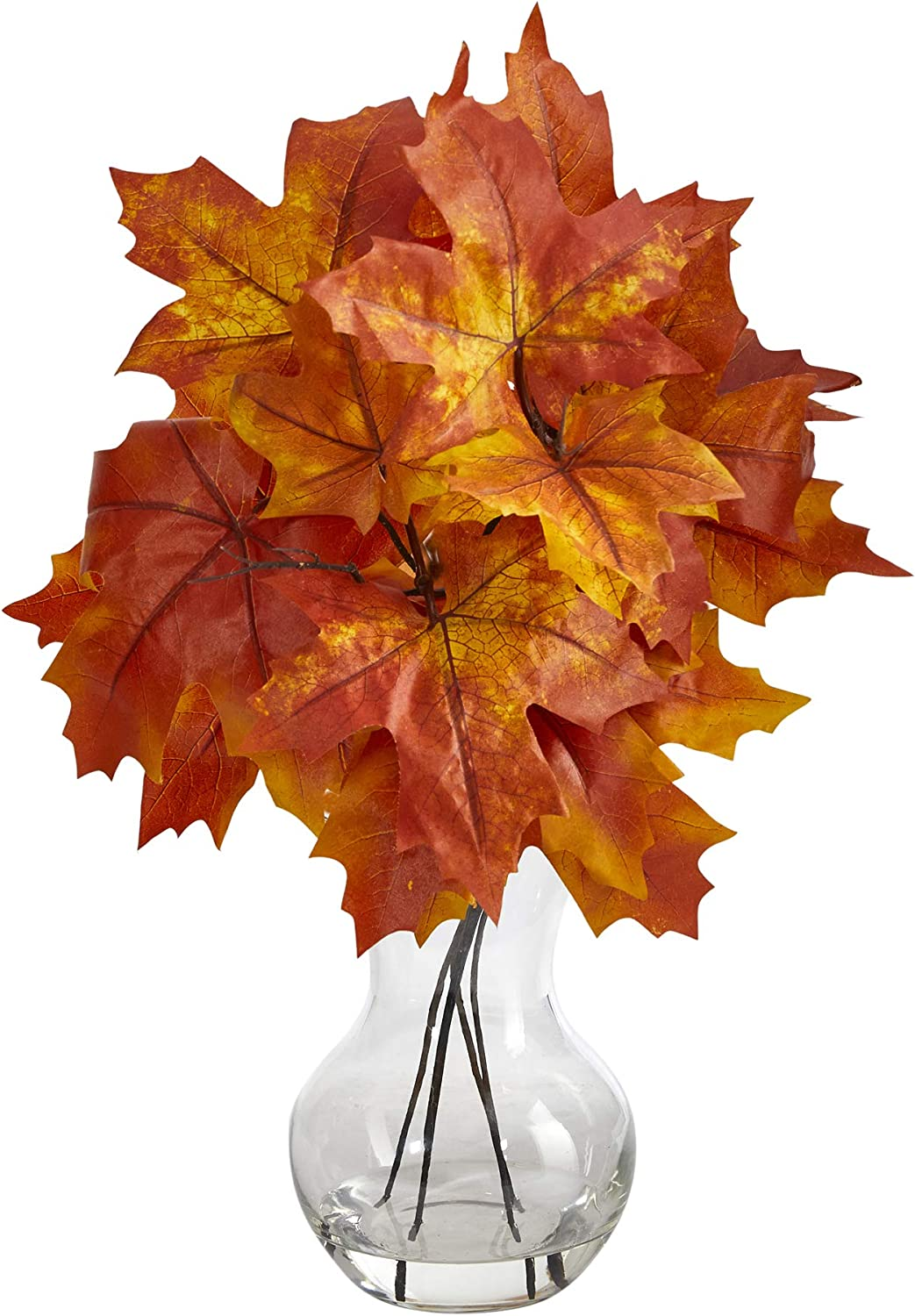 18in. Autumn Maple Leaf Artificial Planter Sale specialty shop Glass Plant in