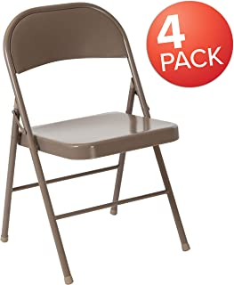 Flash Furniture 4 Pk. HERCULES Series Double Braced Beige Metal Folding Chair - 4-BD-F002-BGE-GG