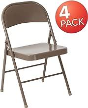 Flash Furniture 4 Pk. HERCULES Series Double Braced Beige Metal Folding Chair