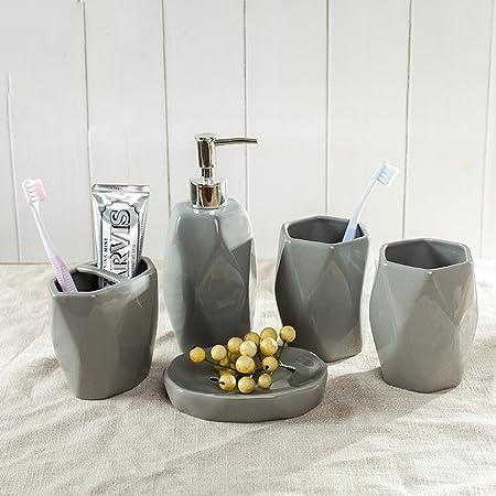 QUEENBACK Set di 5 Accessori da Bagno in Resina Dispenser per lozioni con Pompa+portaspazzolino+portasapona+2 Set di Bicchieri