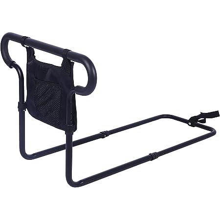 SUKONG ベッド用 起き上がり手すり ハンドル高度レール長さ調節可 ベッドアーム 小物整理バッグ付 1.4kg