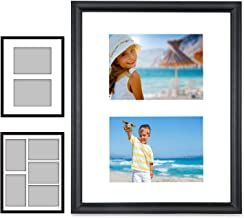 Icona Bay 11x14 Picture Frame Collage w/ 2 Mat Display Options Included (Two 5x7 or Five 4x6), Black Composite Wood Contem...