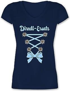 Shirtracer Oktoberfest & Wiesn Damen - Dirndl-Ersatz Korsage - hellblau - Damen T-Shirt mit V-Ausschnitt