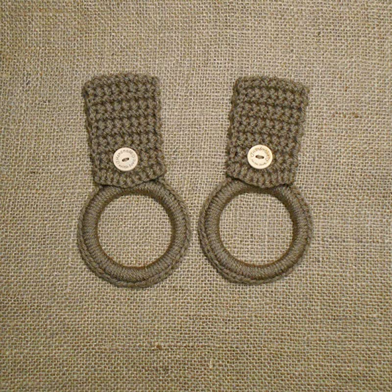 Light Brown Crochet Hanging Kitchen Dish Towel Holders Set Of Two