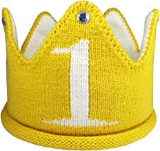 Lujuny Knit 1st Birthday Hat - Happy Baby Crown Headband Cap for Party Costume Photoshoot