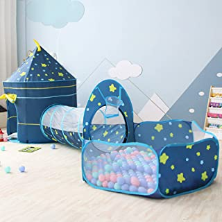 Kids Play Tent, Pop Up Play Tents with Crawl Tunnel & Ball Pit with Basketball for Kids, Boys, Girls, Babies and Toddlers,...