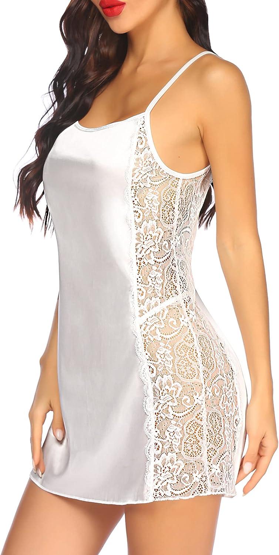 Avidlove Women Satin Lace Chemise Nightgown Sexy Full Slips Sleepwear