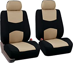 FH Group Universal Fit Flat Cloth Pair Bucket Seat Cover, (Beige/Black) (FH-FB050102, Fit Most Car, Truck, Suv, or Van)