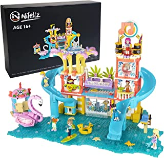 Nifeliz Friends Summer Holiday S-Girls Theme Music Water Park Building Kit, Comes with 8 Mini-Dolls 4 Toy Animal Include F...