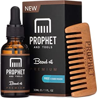 FOR REAL MEN 100% Organic Beard Oil & Exclusive Wooden Comb Kit - Made for Faster Fuller Facial Hair Growth, Softens and M...