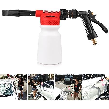 Powstro Pistola de espuma de limpieza de coche multifuncional pistola de espuma de lavado pistola de agua jabón champú rociador 900 ml para furgoneta motocicleta vehículo (rojo)
