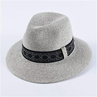 QinMei Zhou Spring and Summer hat Jazz Straw hat Men's Japanese fine Paper Grass Neutral Couple Fashion Big 檐 Sun hat Sun hat (Color : Grey)