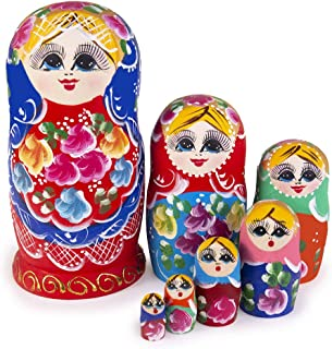 Jeccffes Russian Nesting Dolls Matryoshka Wooden Stacking Nested Set 7 Pieces Red Flower Girl Handmade Toy for Kids Children Christmas Mother's Day Birthday Home Room Decoration Halloween Wishing Gift