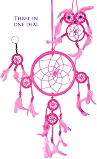 Handmade Dream Catchers Authentic Indian Traditional Native American Circular Net with Feathers Wind Chimes For Car Medium Owl Dream Catcher For Kids Bedroom Large and Small Key Chain. (Pink)