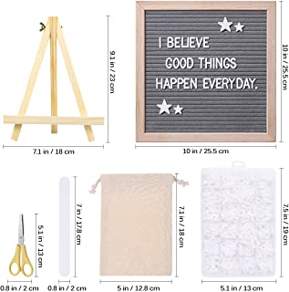 STOBOK Gray Felt Letter Board with Stand Changeable Letter Board Message Board Set with Storage Bag Storage Box Scissor Nail File/10x10 inches
