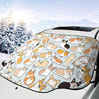 Animal Doodles Car Windshield Snow Cover,Waterproof Frost Guard Winter Windshield Snow Ice Cover with Side Mirror Covers,Windproof Summer Windshield Sun Shade Fits Most Cars,SUVs,Minivans 58 x 46.5 in