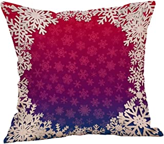 Unionm 102# Pillow Covers Christmas Decor Throw Pillow Case Cotton Linen Red Snowflake Merry Christmas Square 45 x 45 cm 18 x 18 inch Cushion Cover for Home Sofa Car 1 Pack - 5