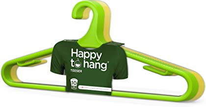 Happy To Hang Teeser 10 Piece Polypropylene Hanger, Yellow and Green