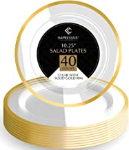 Premium Heavy-weight Round Plastic Plates – Dinner Plates Gold Rim – Superior Plastic – Pack of 40 – 10.25 Inches Plates – Perfect for a Party