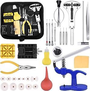 STARTOGOO Kit de Réparation de Montres, Outils de Remplacement de Batterie pour Montre Outils horlogerie Jeu d'outils d'horlogerie Tournevis ouvreur de boîtier réglable pour la Plupart des Montres