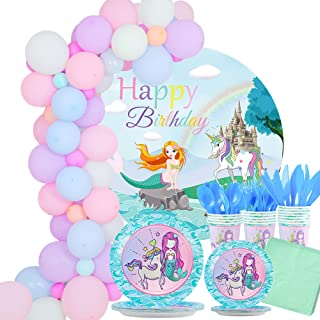 Mermaid Unicorn Party Supplies, Serve 16 Party Plates,Cups,Napkins and Cutlery for kids Girls Birthday Sleepover party Bab...
