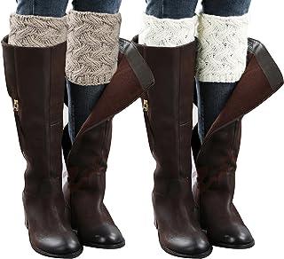 Loritta 2 Pairs Women Winter Crochet Knitted Boot Cuffs Toppers Short Leg Warmer