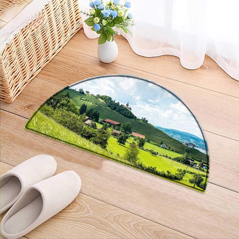 Semicircle Area Rug Carpet A Pleasant Nature Door mat Indoors Bathroom Mats Non Slip W47 x H32 INCH